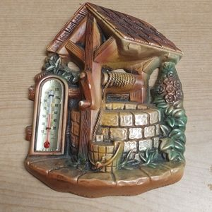 Vtg chalkware wall plaque thermometer wishing well